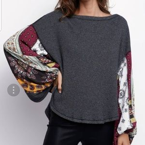 Free People Blossom Thermal pattern Bell Sleeve